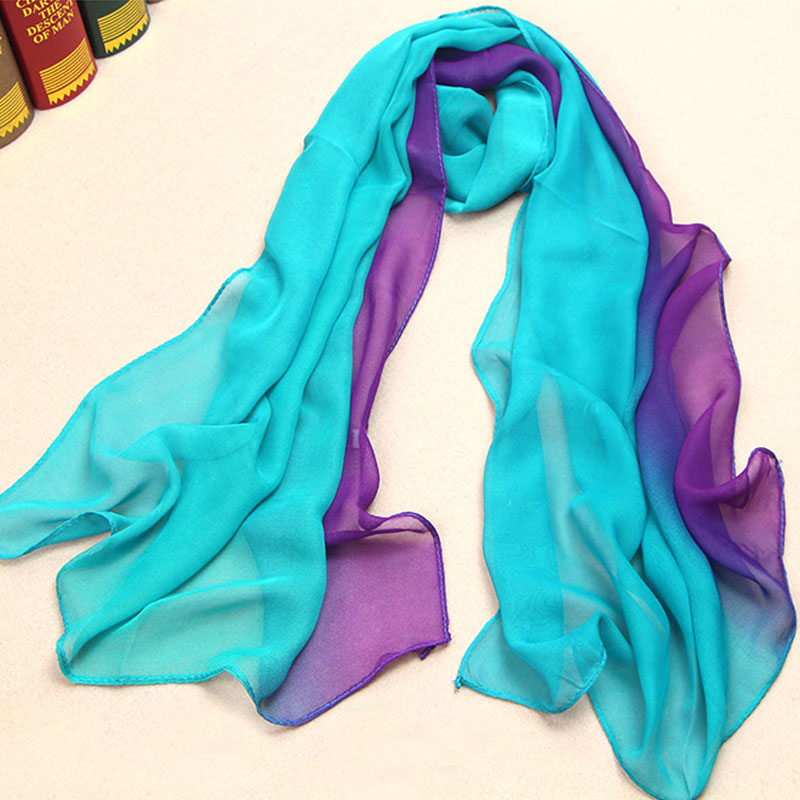 DoreenBow Woman carf ombre Wrap Solid Colored Scarves Foulard Chiffon Hijab Luxury Brand Scarf Head Scarves Dark Blue Purple ...