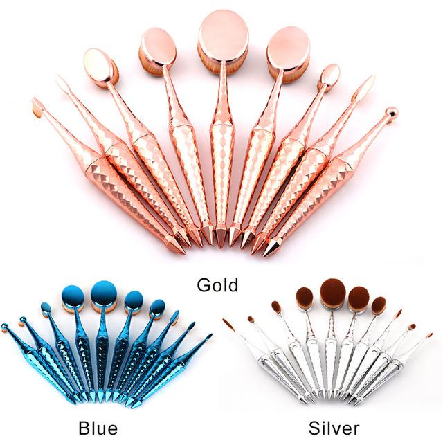 Nueva Oval Cepillo De Maquillaje Profesional Corrector Fundación Polvo Mezclando Pinceles Herramientas de Composición de cepillo de Dientes de Plata/Azul/Oro Rosa