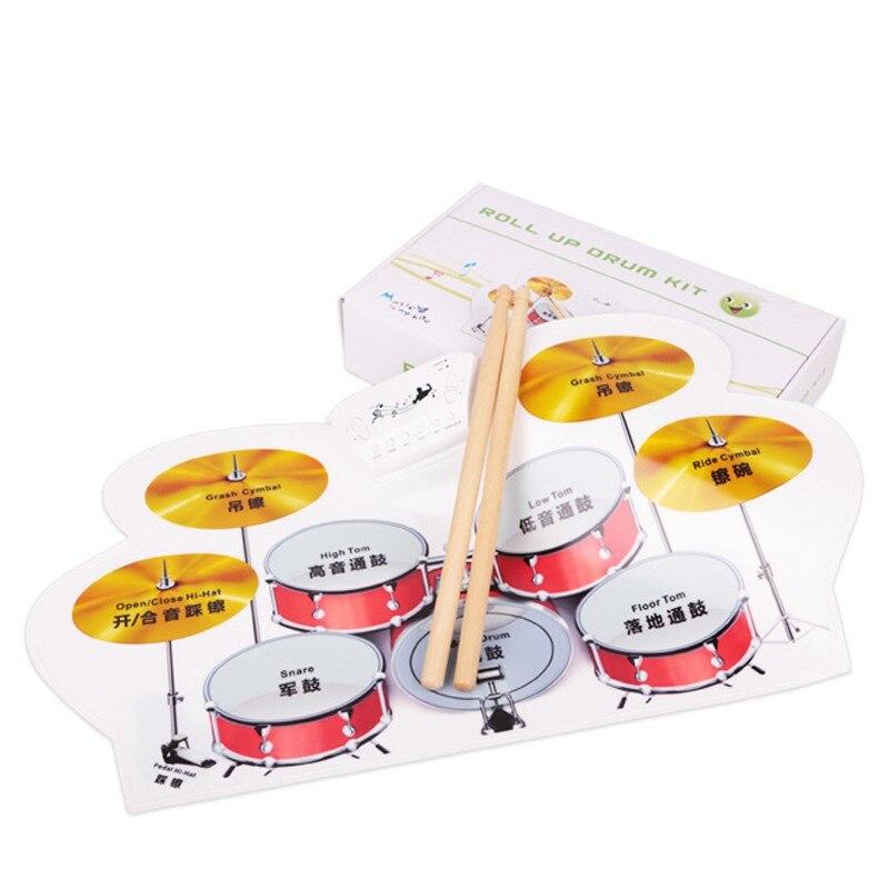 Kit de batterie électronique pc de bureau rouleau tambour Pad Portable avec baguettes pédale pied Instrument de musique jouet pour enfant enfants