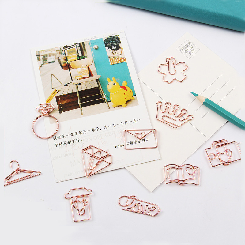 TUTU Free Shipping Rose Gold Paper Clips Bookmark Planner Tools Scrapbooking Tools Memo Clip Metal Binder Paperclip H0137