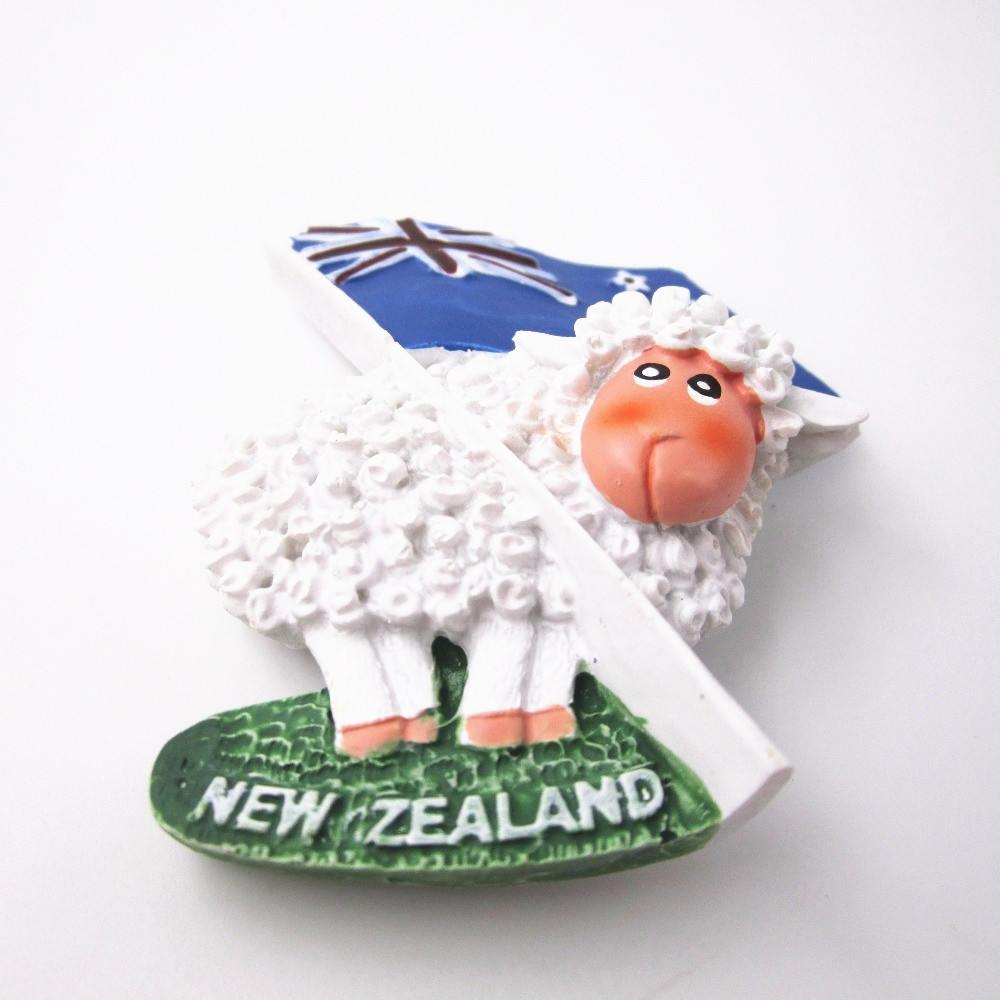 Cartoon Sheep <font><b>New</b></font> <font><b>Zealand</b></font> Flag Tourist World Travel <font><b>Souvenir</b></font> Refrigerator 3D Resin Decorative <font><b>Fridge</b></font> <font><b>Magnet</b></font> Stickers Craft Gift image