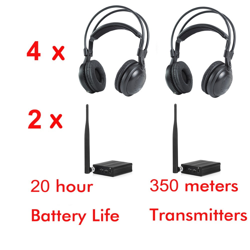 2 channel Ultra low bass 4pcs classical Silent disco Wireless headphones For DJ music pary club