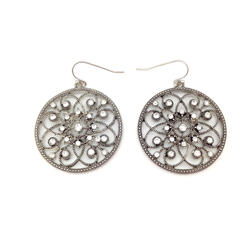 Women Special store vintage hollow antique silver round rhinestone flower pendant hanging Earrings brincos female earing
