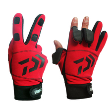 Daiwa Winter Warm Fishing Gloves Cotton 3 Fingers Cut Waterproof Anti-slip Fishing Glove Outdoor Riding Hiking Sports