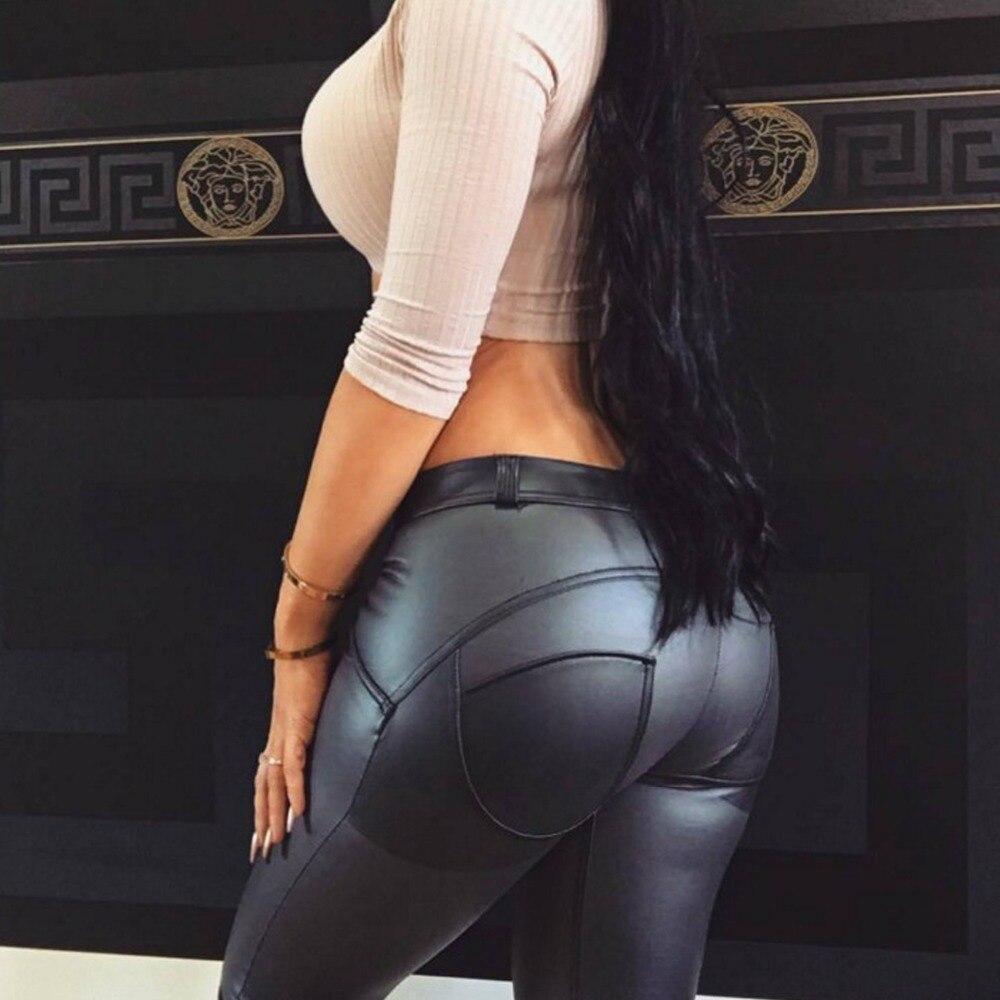Women Sexy Stretched Leather Leggings Plus Size Black Motorcycle Biker Legging High Waist Pencil Pants