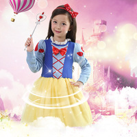 Autumn winter children clothes girls bow knot sweater dress Snow White Princess long sleeve dress christmas party costumes.YL21