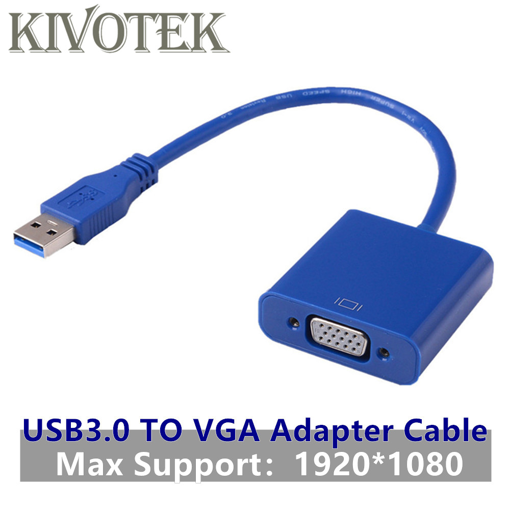 USB3.0 to VGA HD Adapter Converter,1920*1080 External Video Graphic Card Female Connector for Win7/8 Vista PC Laptop Computer image