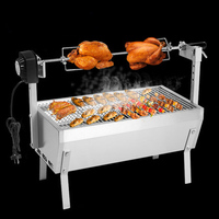 Large Stainless Steel BBQ Grill Charcoal Pig Spit Roaster Rotisserie Barbeque Chicken Duck Oven