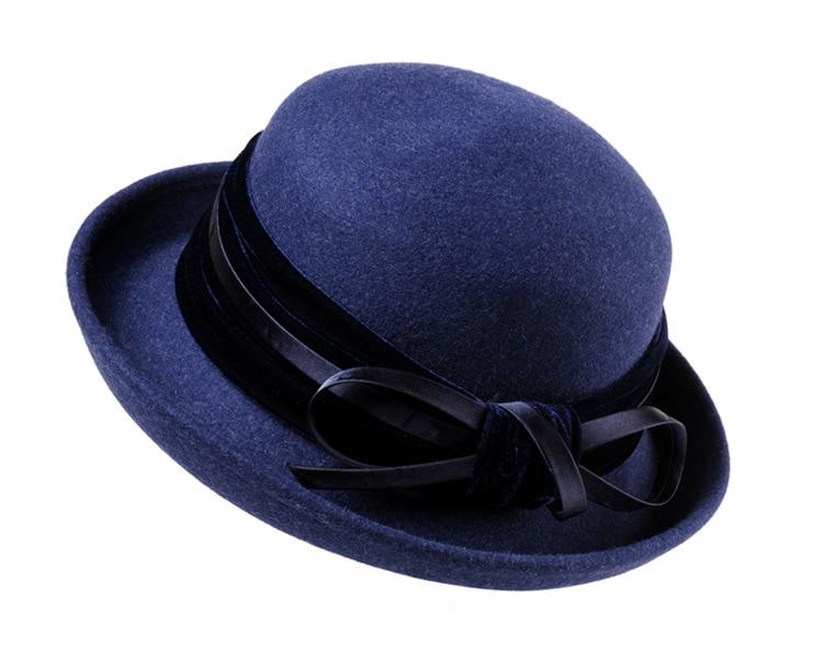4_Vintage Wide Brim Hats Felt Women Navy Blue Wool Fedora Warm Ladies Bowknot Top Cloche Hat 2018 Chapeau Femme
