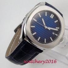 39mm Blue Sterile Dial Sapphire Glass Date Luminous Maker Automatic Movement Mens Watch 46mm sterile coffee dial luminous marks date window automatic mens watch b89