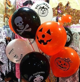 Halloween Latex Balloons Party Decoration Orange Black Skull Pumpkin ghost bat Trick or Treat Scary club bar decor props gift