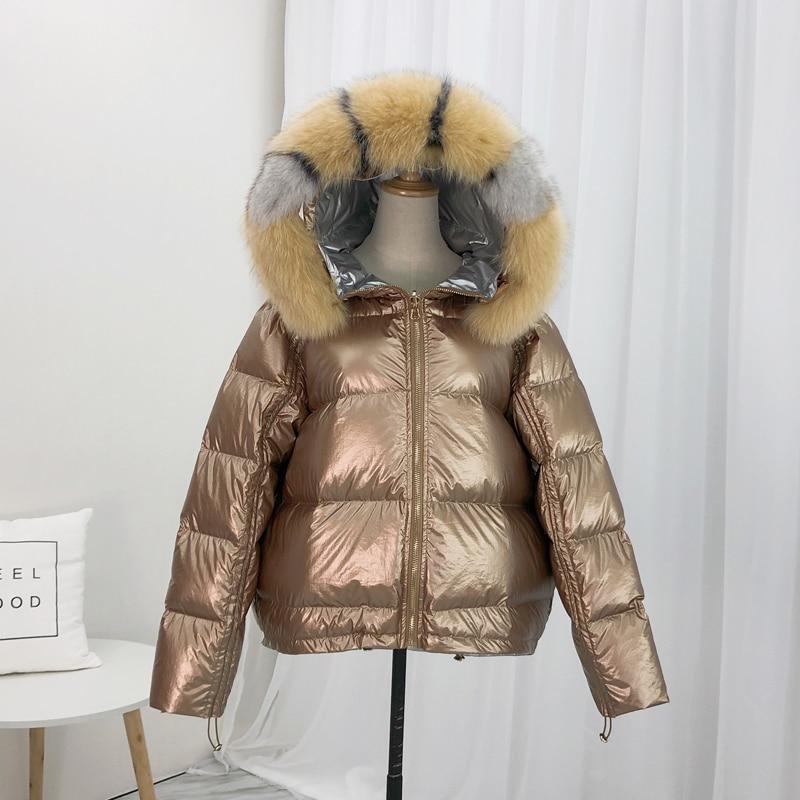 Women Winter Jacket 2019 Real Natural Fox Fur White Duck   Down     Coat   Female   Down   Parka Outerwear Thick Warm Winter   Coat   Women