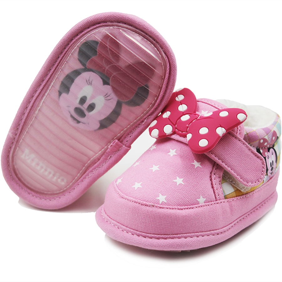 Lolita Minnie Baby Girl First Walkers Winter Baby Boy Shoes Men Loafer Newborn All For Children Pink Footwear Blue Shoes 70A1001 soft baby boy girl shoes autumn winter cotton infant toddler anti slip first walkers cute slippers prewalker shoes for children