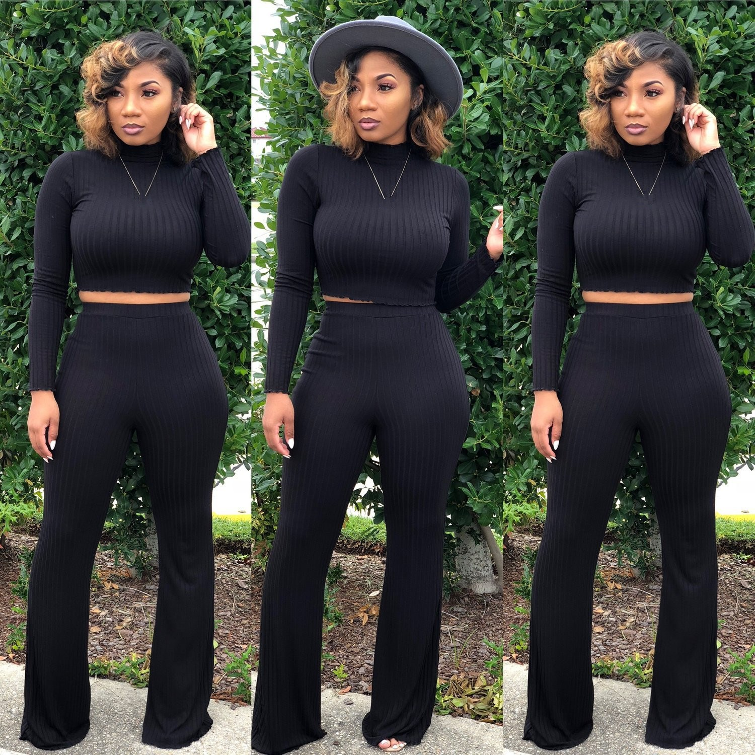 Hot Sale 2018 Autumn Winter Two Piece Sets Sexy Club Women Fashion Turtleneck Top And High Waist Wide Leg Pants Loose Suits