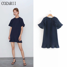 COZARII 2019 summer dress women vestidos casual style solid O-Neck ruffles short sleeve mini de fiesta party