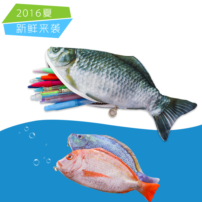 New arrival novelty simulated fish pencil bag papelaria for Fish pencil case