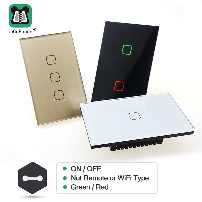 Free Shipping US Standard 1  2 3 Gang 1 Way Wall Light Controler Smart Home Automation Touch Switch Not Remote Wifi App Type