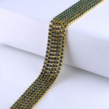Free Shipping rhinestone cup chain 10yards claw base flatback rhinestones sewing non hotfix for clothes