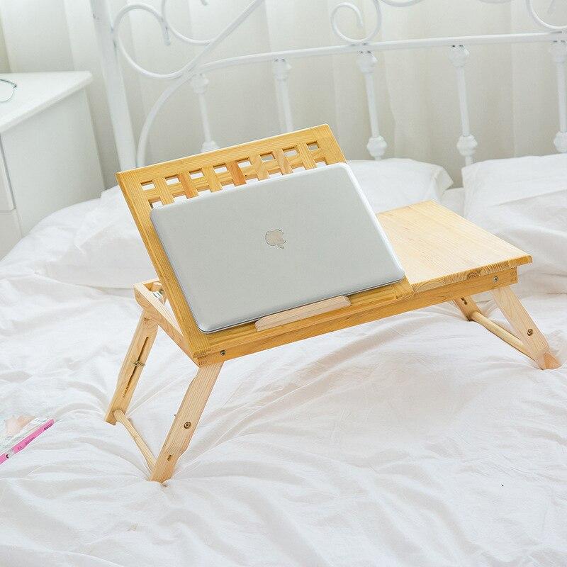 Computer Desk Simple laptop desk solid wood lazy bed simple foldable adjustable desk kids learning table