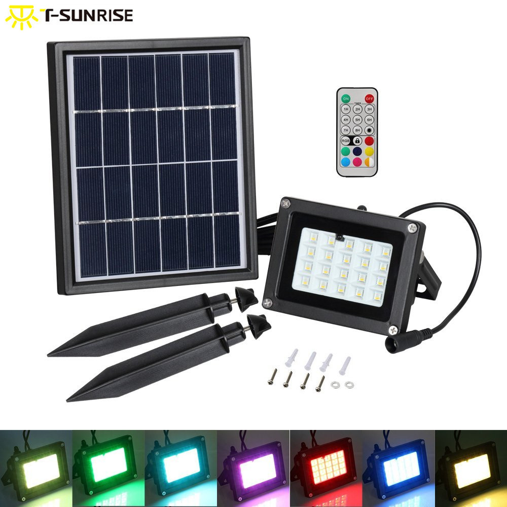 T-SUNRISE LED Flood Light Outdoor Waterproof Solar Powered Light Landscaping RGB Lawn Lamp With Remote Contro For Garden 10W