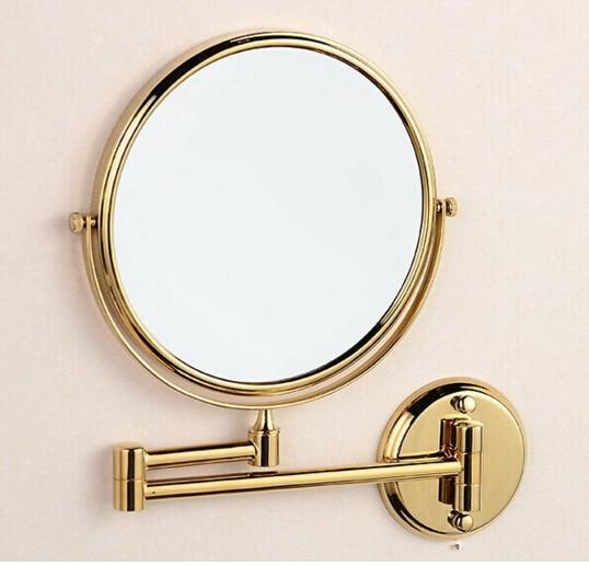 Brass gold bath mirror 8 inch bathroom makeup mirror folding retractable double faced mirror high quality 8 bathroom mirror copper oil rubbed bronze retractable wall mounted bath makeup mirror
