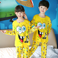 New 2016 Kids Pjs Baby Boy Spongeboby Cartoon Long Sleeve Tops+Pants Sleepwear Girls Pyjamas Autumn Nightwear Clothes Suits 2Pcs
