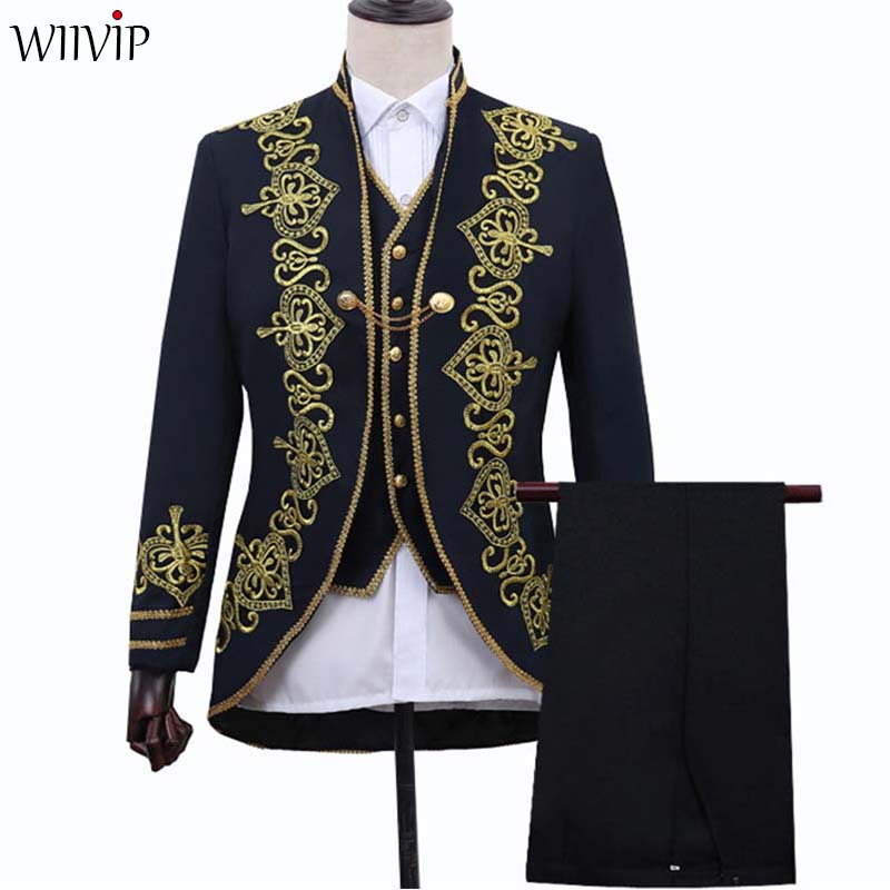 New Man Fashion Embroider Wedding Party Slim Fit Blazer Coat And Vest Pant Groom Mens Stage Wear Singer Costume Blazer Suit 1281