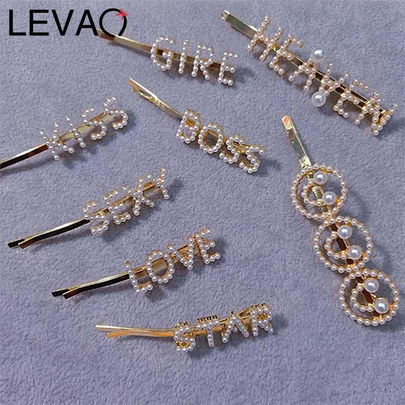 LEVAO 1PCS Fashion Pearl Letter Hairpin Gold Clip For Women Alloy Side Bangs Bohemia   Headwear   Hair Clip Girls Hair Accessories