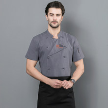 Unisex Stand Collar Embroidery Badge Pocket Short Sleeve Kitchen Chef Restaurant Uniforms Cook Work Jackets(China)