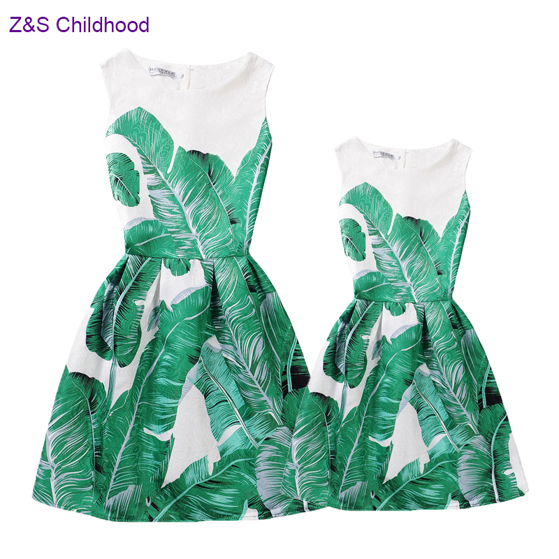 European and American Style Mother Daughter Dresses Vintage Banana Leaves Print Mother and Daughter Clothes Mommy and Me Clothes tropical leaves print tapestry