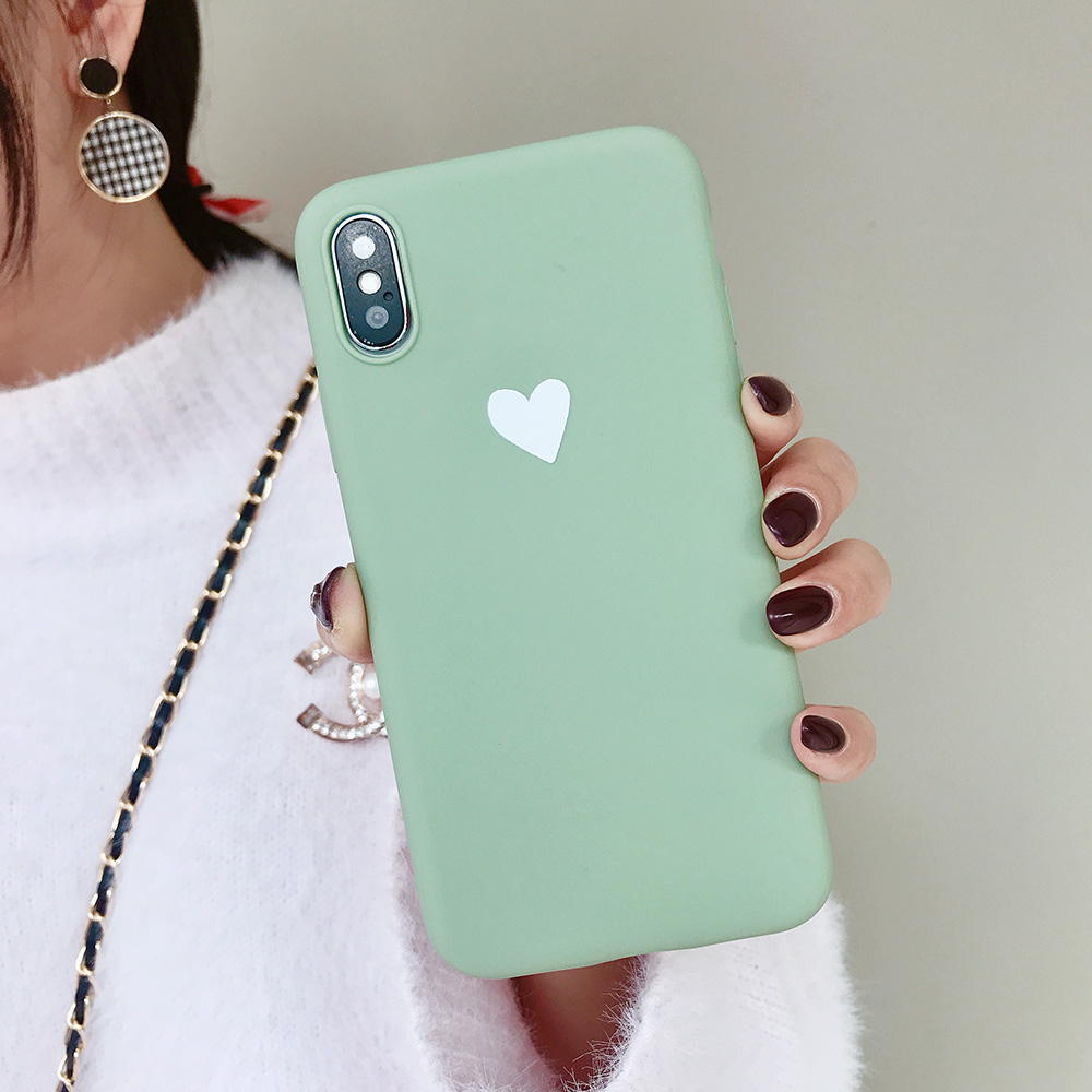 KIPX1073_9_JONSNOW Matte Phone Case For iPhone XR XS Max 6 6S 7 8 Plus 6Plus Candy Color Simple Heart Design Soft TPU Cases Back Cover