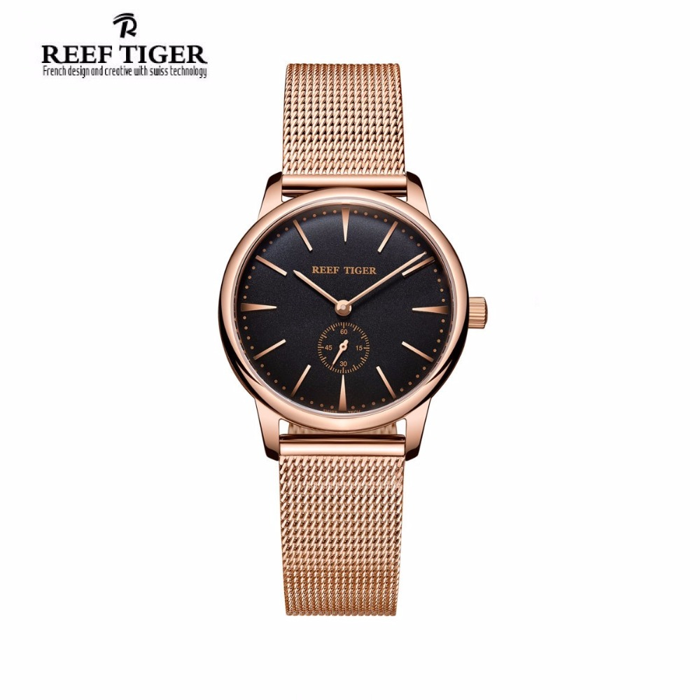 Reef Tiger Luxury Brand Vintage Watch Reloj Mujer Ultra Thin Quartz Couple Women Rose Gold Tone Analog Watches Relogio Feminino brand julius women watches ultra thin leather strap watch band analog display quartz wristwatch luxury watches relogio feminino