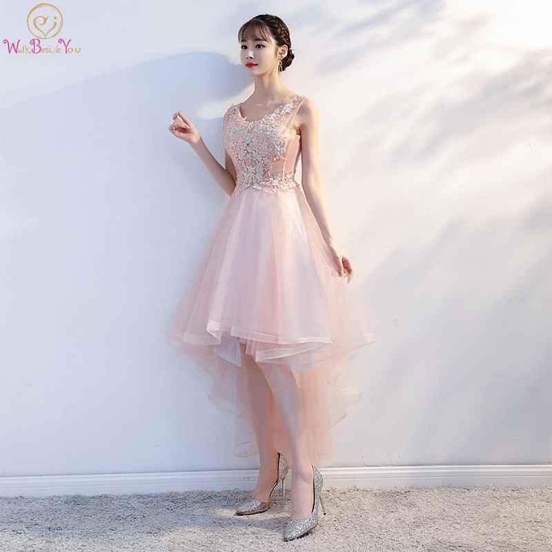 1d2b993dd2 Pink Prom Dresses Short Front Long Back Lace Appliques A-line Scoop Vestido  De Gala