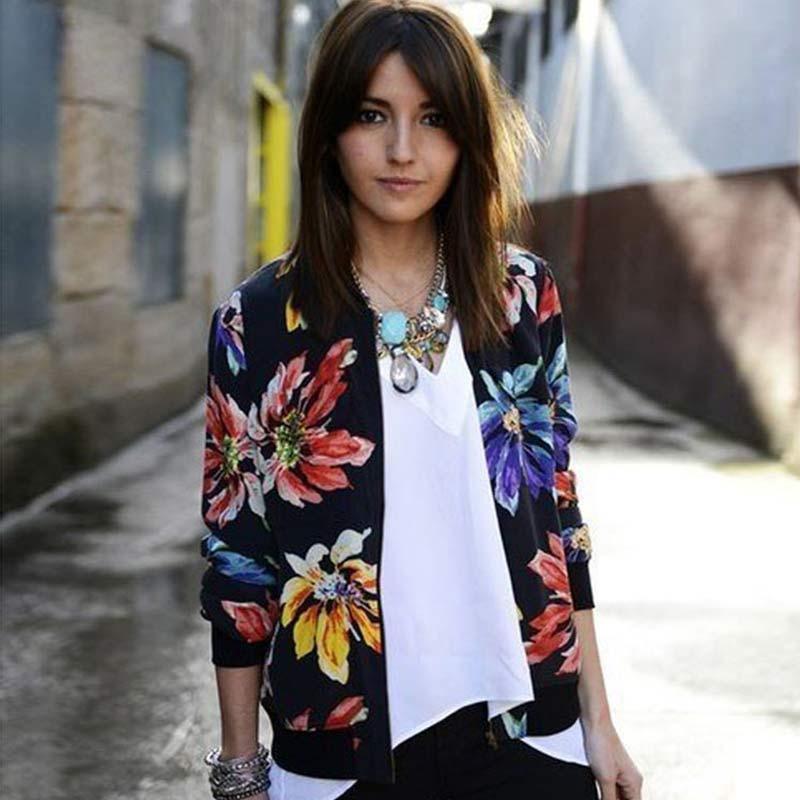 Trendy Retro Frauen Blume Drucken Casual Baseball Sweatshirt Zipper Dünne Bomber Jacke Lange Ärmel Mantel Outwear-MX8