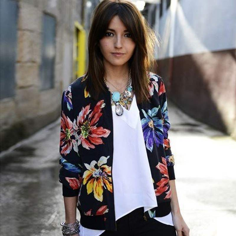 Trendy Retro Women Flower Print Casual Baseball Sweatshirt Zipper Thin Bomber Jacket Long Sleeves Coat Outwear -MX8