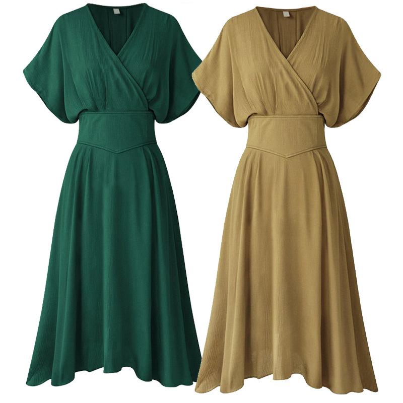 ... Summer Dress V Neck Elastic Empire Waist Women Casual Dress Vintage  Style Sundress Robe Femme Batwing ... 0d0f48dc0981
