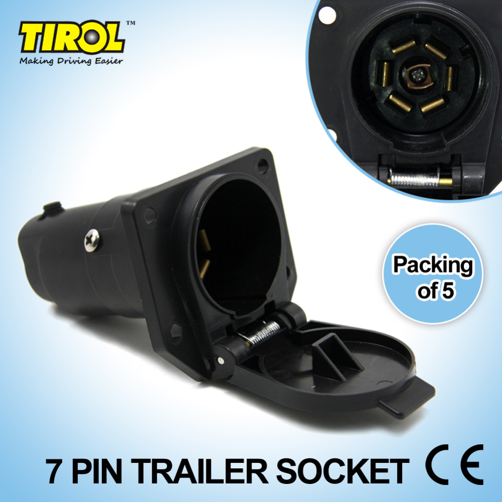 Tirol 7Pin TrailerSocket 7 Way Round Trailer Connector RV Light Plug Connector Female Tow bar Vehicle End T21848d