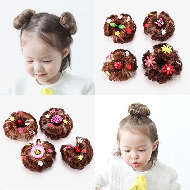 Girls Wig Hair Clip Accessories Bud Ball Hair Band Kids Donut Ball Head Bun Maker Child Drop Ship