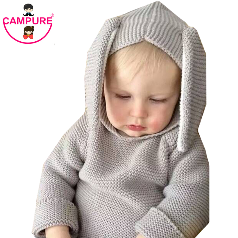 2017 Winter Designer 3D Rabbit Baby Sweaters Pure Cotton Hooded Knitted Brand Baby Boys And Girls Clothing Sweater for 1-5 Years