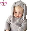 2016 Designer de Inverno 3D Camisolas Com Capuz de Algodão Puro Do Bebê Coelho Bebê Meninos E Meninas Roupas de malha Marca Camisola para 1-5 anos