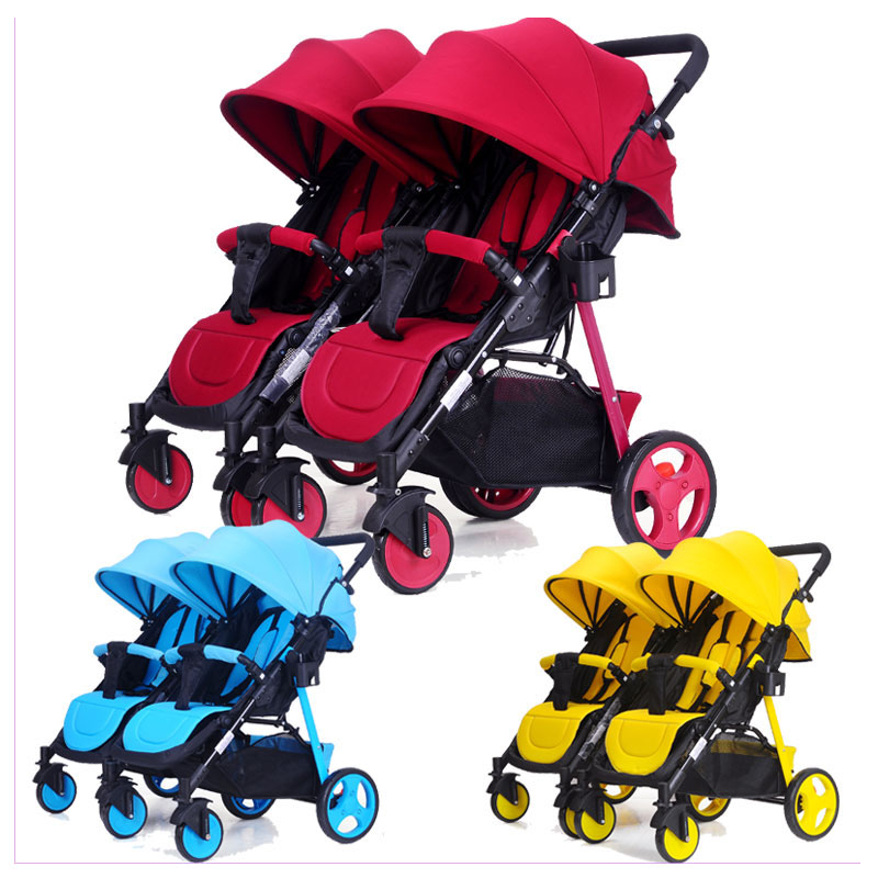 Twin Baby Trolley Can Be Split Double Twins Baby Stroller 2 In 1 Umbrella Multiple Stroller Can Sit Flat Lying Baby Travel Pram angelguard high landscape twins baby stroller can split ultra light umbrella can be two color twins baby stroller