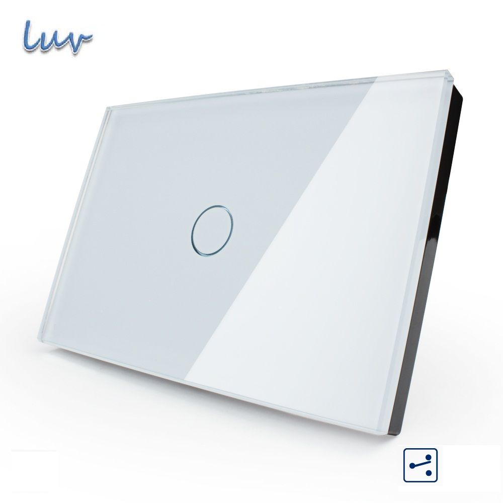 US/AU standard,Touch switch, VL-C301S-81,1-gang 2-way, Touch Screen Light Switch, White Crystal Glass Panel for Led Light smart home us au wall touch switch white crystal glass panel 1 gang 1 way power light wall touch switch used for led waterproof