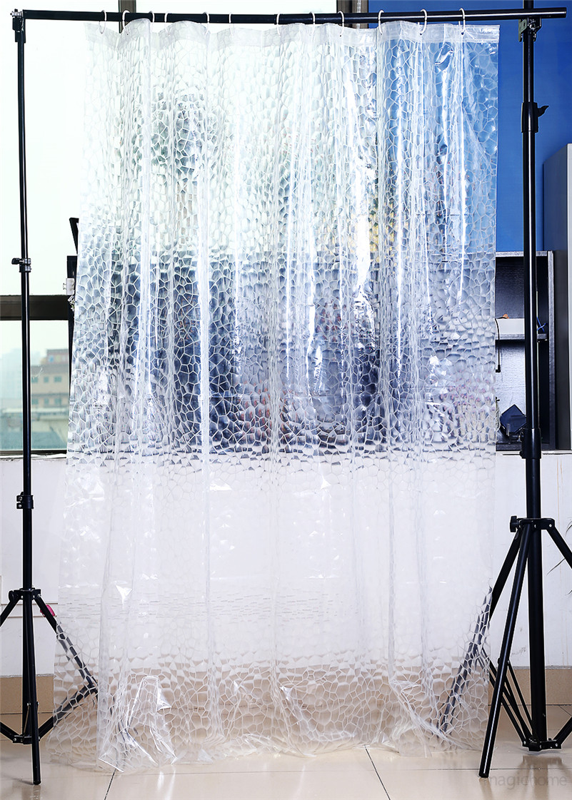 Transparent Shower Curtain 3D PEVA Water Cube Shower Curtain Home Decor Scenic Waterproof Fabric Bathroom Curtain Polyester