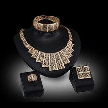 2016 Gran Traje de La Joyería de Dubai Chapado En Oro Top Gorgeous Boda Nigeriano Beads Africanos Joyería Conjunto Para Las Mujeres FAS038