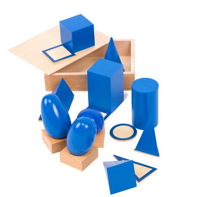 Bébé Jouet Montessori Solides Géométriques avec des Stands Bases et Boîte de La Petite Enfance Éducation des Enfants Jouets Brinquedos Juguetes