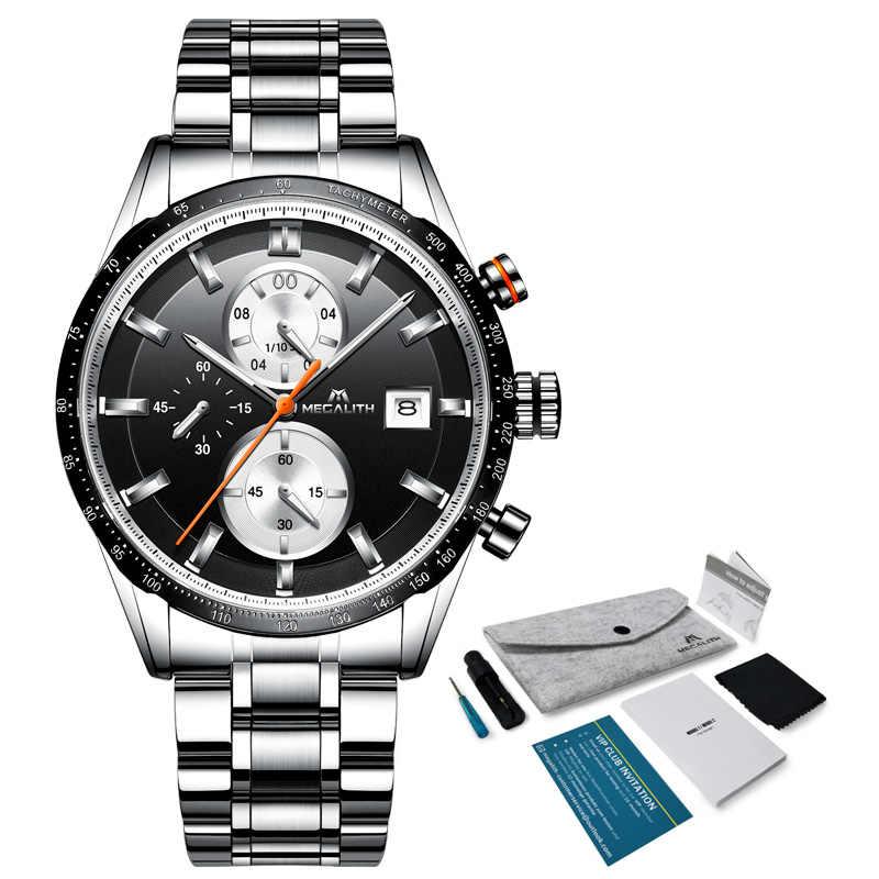 2019 megalith marca de moda superior dos homens relógios esporte à prova dwaterproof água cronógrafo aço completo relógio quartzo masculino reloj hombre