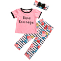 3PCS Toddler Infant Girls Outfits Letter Short Sleeve T-shirt+Floral Pants+Headband Kids Clothes Set