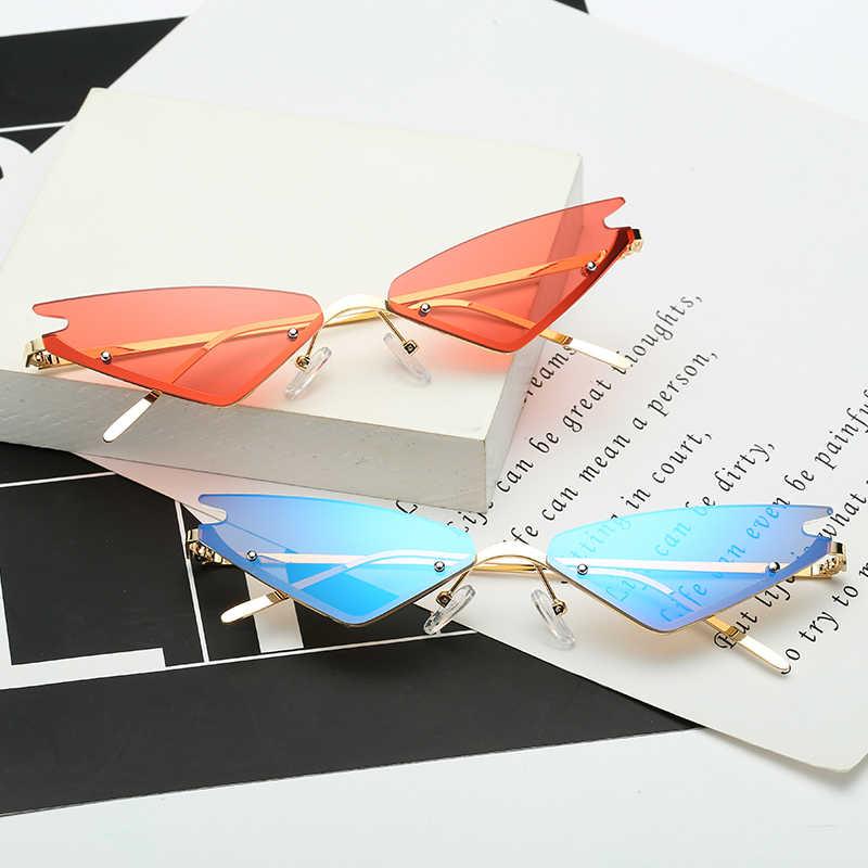afbee1122 ... Mirror Rimless Sunglasses Women Sexy Cat Eye Streetstyle Sun Glasses  Trending Styles Vintage Ladies Brand Designer ...