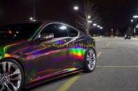 4 Màu Bạc Vàng Tím Đen Chrome Holographic Vinyl Bọc Cầu Vồng Laser Vinyl Film Bubble Miễn Phí Xe Sticker