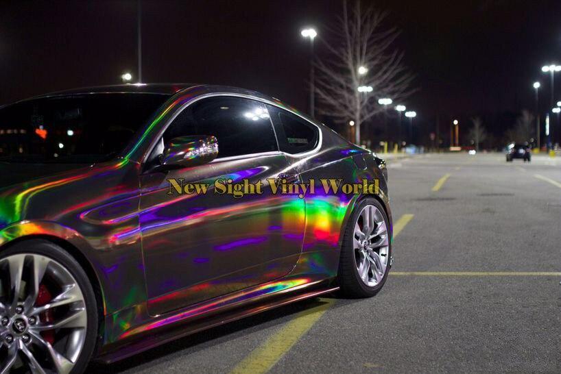 4 couleurs Argent Violet Or Noir Chrome Holographique Vinyle Wrap Arc-En-Laser Vinyle Film Gratuit Bubble Autocollant De Voiture